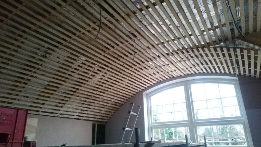 Barrel vault lathe ceiling in progress
