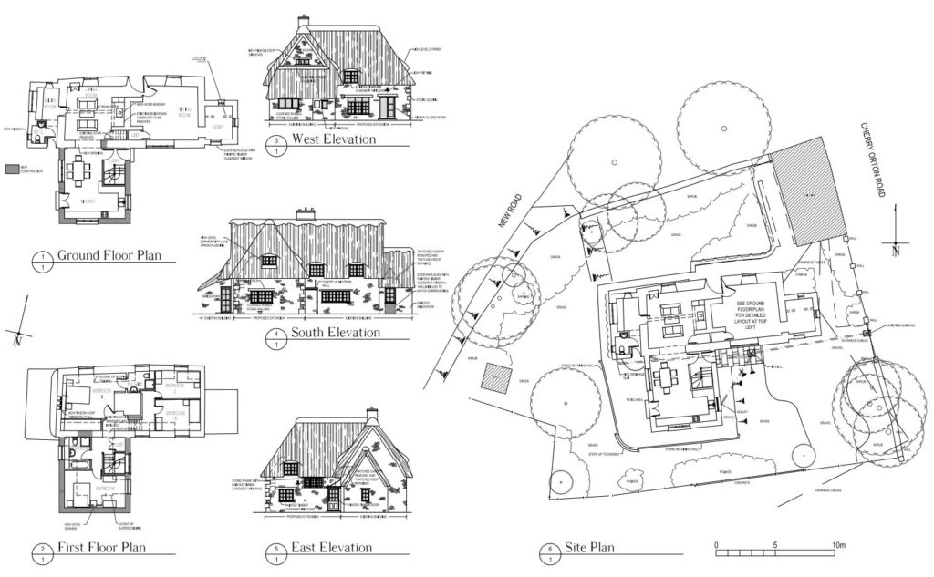 Plan & elevations of thatched extension