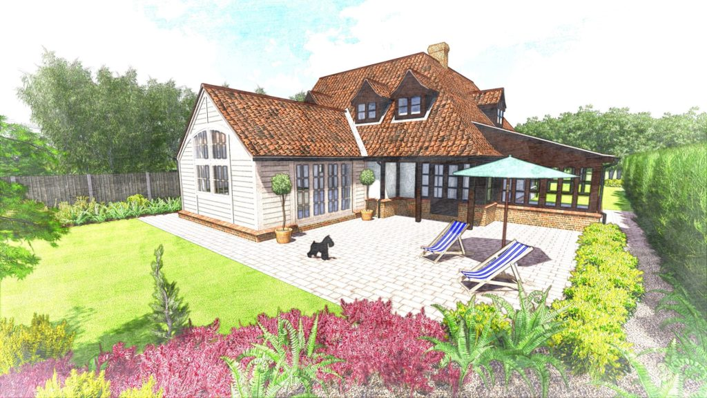 Preconstruction render of proposed timber frame extension