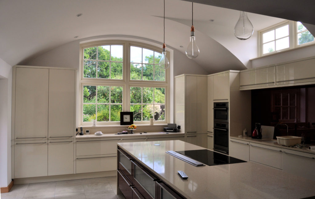 Completed kitchen with barrel vault ceiling